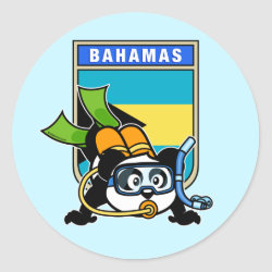Round Sticker with Bahamas Scuba Diving Panda design