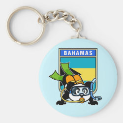 Basic Button Keychain with Bahamas Scuba Diving Panda design