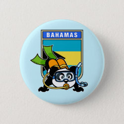 Round Button with Bahamas Scuba Diving Panda design