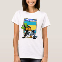 Women's Basic T-Shirt with Bahamas Scuba Diving Panda design
