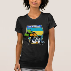 Women's American Apparel Fine Jersey Short Sleeve T-Shirt with Bahamas Scuba Diving Panda design