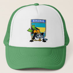 Trucker Hat with Bahamas Scuba Diving Panda design