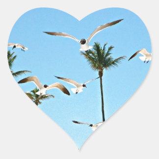 Bahamas Seagulls flying over blue skies Heart Sticker