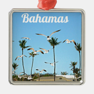 Bahamas Seagulls flying over blue skies Metal Ornament