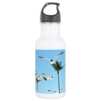 Bahamas Seagulls flying over blue skies Stainless Steel Water Bottle