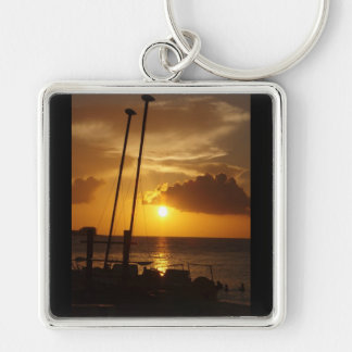Bahamas sunset keyring Silver-Colored square keychain