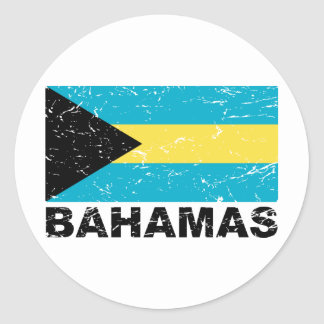 Bahamas Vintage Flag Classic Round Sticker