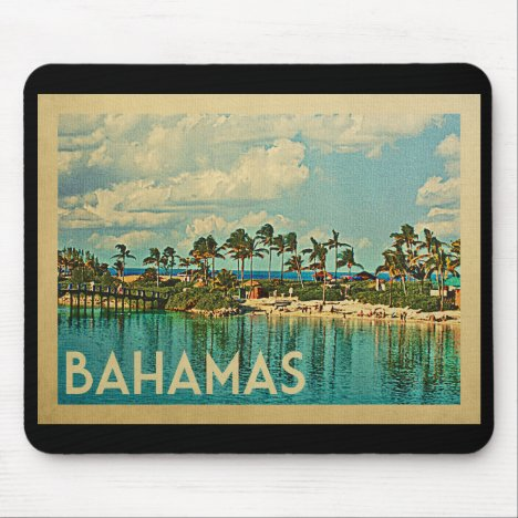 Bahamas Vintage Travel Mouse Pad