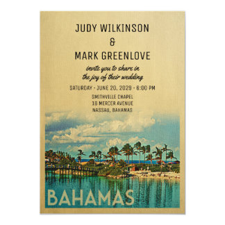 Bahamas Wedding Invitation Vintage Mid-Century
