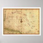 Bahamas y mapa 1650 de Cuba Póster