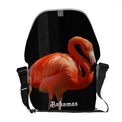 Bahamian Flamingo Messenger Bags