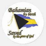 Bahamian por el nacimiento ahorrado por la gracia etiquetas redondas