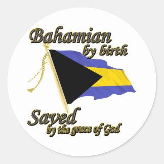 Bahamian por el nacimiento ahorrado por la gracia pegatina redonda