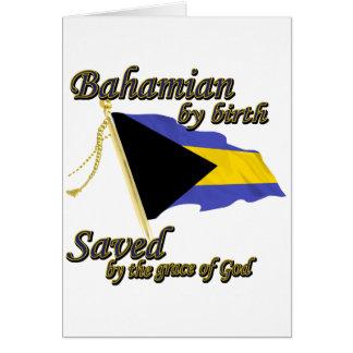 Bahamian por el nacimiento ahorrado por la gracia  tarjeta de felicitación