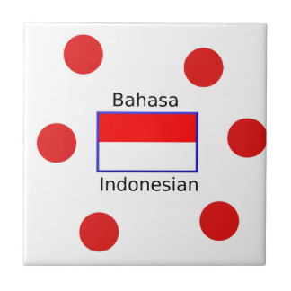 Bahasa Language And Indonesian Flag Design Tile