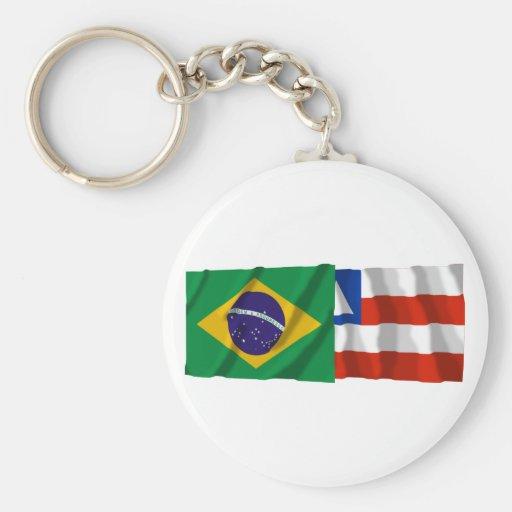 Bahia & Brazil Waving Flags Key Chain