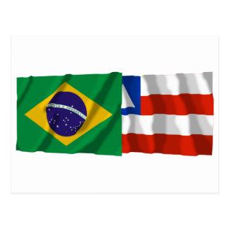 Bahia & Brazil Waving Flags Postcard