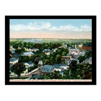 Bahía de Alexandría, mil islas, vintage 1917 de NY Tarjeta Postal