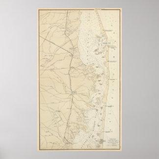 Bahía de Barnegat de la sección de la costa al map Póster