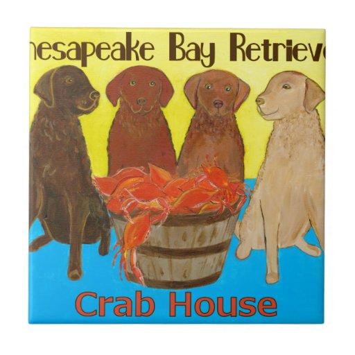 Bahía de Chesapeake Retriver Crabhouse Azulejo Cuadrado Pequeño