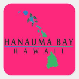 Bahía de Hanauma - islas de Hawaii Pegatina Cuadrada