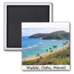 Bahía de Hanauma, opinión de Honolulu, Oahu, Hawai Imán Cuadrado
