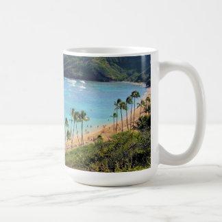 Bahía de Hanauma, opinión de Honolulu, Oahu, Hawai Taza Básica Blanca