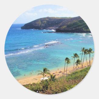 Bahía de Hanauma, opinión de Honolulu, Oahu, Pegatina Redonda
