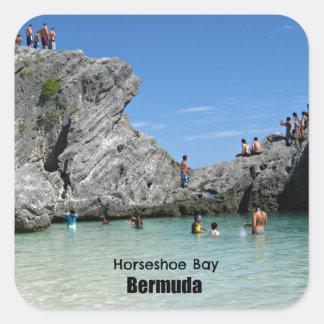 Bahía de herradura Bermudas Calcomanías Cuadradases