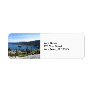 Bahía de la esmeralda de Tahoe- del lago Etiqueta De Remite