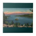 Bahía de la esmeralda del lago Tahoe del vintage Azulejos Ceramicos