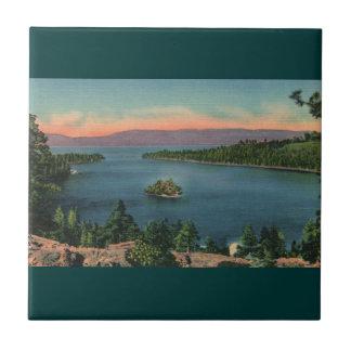 Bahía de la esmeralda del lago Tahoe del vintage Azulejo Cuadrado Pequeño