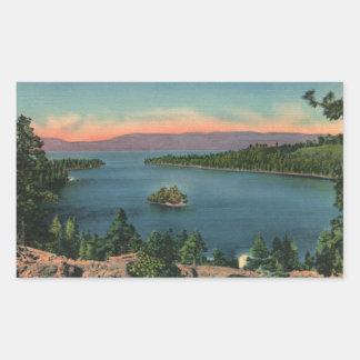 Bahía de la esmeralda del lago Tahoe del vintage Pegatina Rectangular