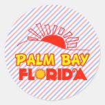 Bahía de la palma, la Florida Pegatina Redonda