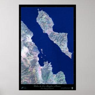 Bahia de Los Angeles, B.C, Mexico satellite poster