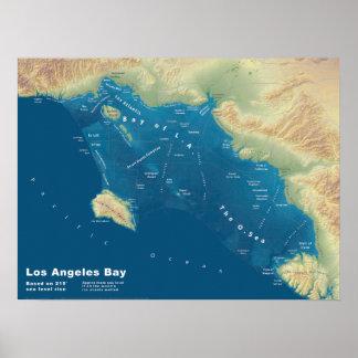 Bahía de Los Ángeles--Mapa de la subida del mar Póster