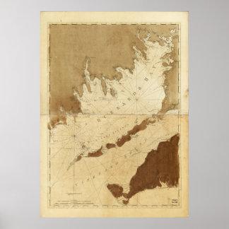 Bahía de los halcones y mapa sano de Massachusetts Póster