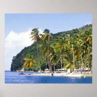 Bahía de Marigot St Lucia del Caribe Impresiones