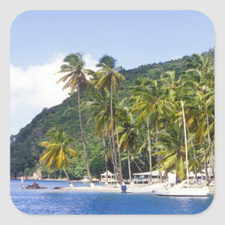 Bahía de Marigot St Lucia del Caribe Calcomanía Cuadradas Personalizada