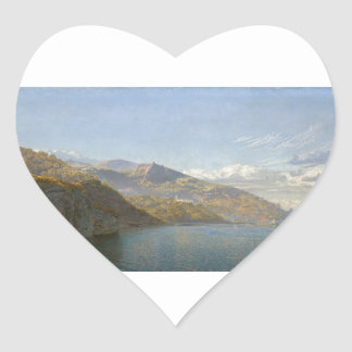 Bahía de Massa de Nápoles de Juan Brett Pegatina En Forma De Corazón