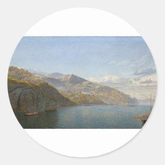 Bahía de Massa de Nápoles de Juan Brett Pegatina Redonda
