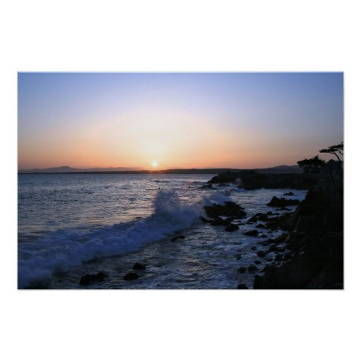 Bahía de Monterey, foto de la salida del sol del p Póster
