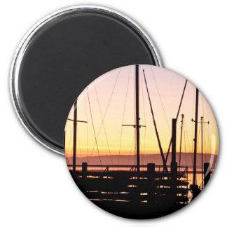 Bahía de Morro de la puesta del sol Imanes Para Frigoríficos