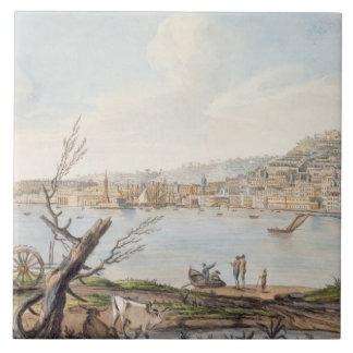 Bahía de Nápoles de la orilla de mar cerca del Br  Azulejo Cuadrado Grande