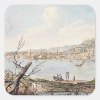 Bahía de Nápoles de la orilla de mar cerca del Br Pegatina Cuadrada