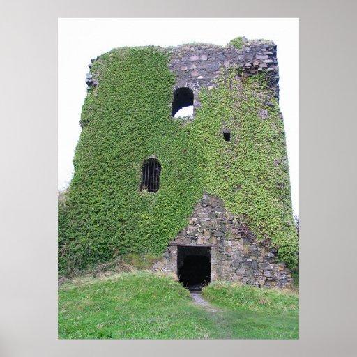 Bahía de Oban del castillo de Dunollie, Escocia Póster