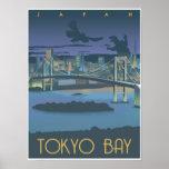 Bahía de Tokio en la noche Póster