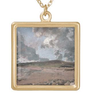 Bahía de Weymouth con la colina de Jordania, c.181 Colgante Cuadrado