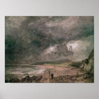Bahía de Weymouth con la tormenta inminente Póster