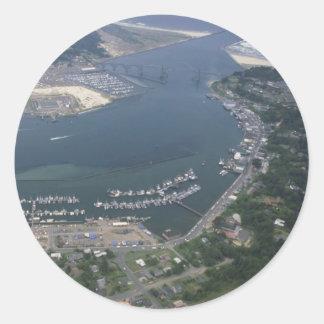 Bahía de Yaquina Pegatina Redonda